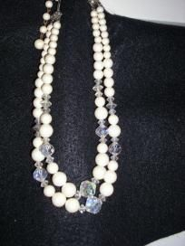 Vintage Pearl & Crystal Necklace $13.00