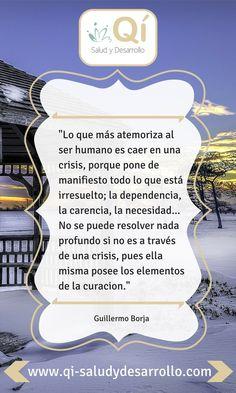 ... Lo que más atemoriza al ser humano es caer en una crisis, porque pone de manifiesto todo lo que está irresuelto; la dependenica, la carencia, la necesidad... No se puede resolver nada profundo si no es a través de una crisis, pues ella misma posee los elementos de la curación. Guillermo Borja.
