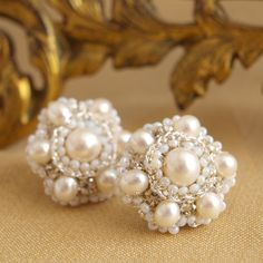 Perla Earrings | Silver Floral Lace Posts with White Pearls, Vintage Crystals.  Wow this woman's handmade lace jewelry is amazing.