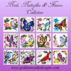 Birds, Butterflies and Flowers Machine Embroidery Designs