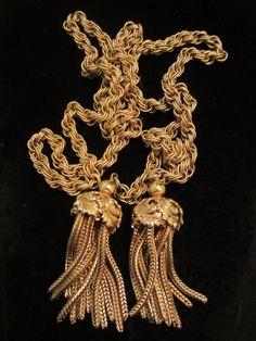"Runway Vintage 40"" Signed Napier Gold Tone Tie Necklace 2"" Tassel Pendants A5"