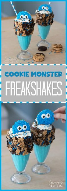 These Cookie Monster Freak Shakes are super easy to make and loaded with delicious cookies The cuteness is just an added bonus with these milkshakes! click now for more. Monster Snacks, Cookie Monster Party, Birthday Desserts, Cute Desserts, Delicious Desserts, Yummy Food, Desserts To Make, Baking Desserts, Cookie Desserts
