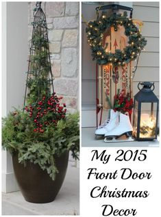My Front Door at Christmas!  After realized I tossed out much of my outside Christmas decor, I recycled and repurposed!  Pin for some great ideas for next year!  - Momcrieff