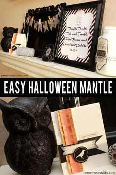 Easy #DIY #Halloween Mantle with @Janet Russell-Snider Crafts products from @Target!