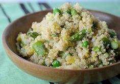 A fresh Spring vegetable quinoa recipe with asparagus, peas, basil and lemon.