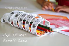 zip it up pencil case. Pencil case that is one long zip. All you need is the zip and ribbon.