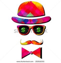 Vintage silhouette top hat and mustache - Stock Vector - stock vector