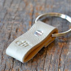 Monogrammed Taupe and Ochre Leather Keychain (Style 3). $11.50, via Etsy.