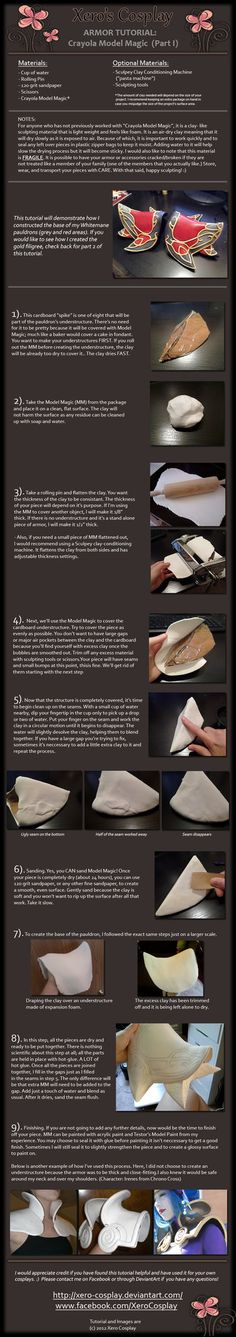 Cosplay tutorial - Armor from model magic clay Cosplay Armor, Cosplay Diy, Halloween Cosplay, Best Cosplay, Costume Tutorial, Diy Tutorial, Larp, Armadura Cosplay, Costume Armour