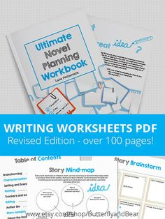 Ultimate Novel Planning Workbook - Printable worksheets - revised edition with over 100 pages of worksheets. Also available on Amazon in a printed book #amwriting