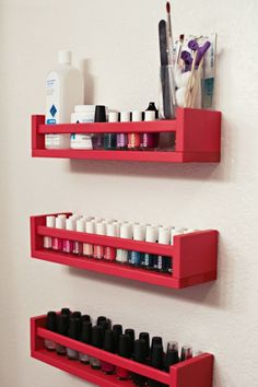 Keep your vast amounts of nail polish under control with these DIY nail polish racks.