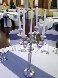 Celebration Events   Silver Candelabras With Pearls On Mirror Plates On  Navy Table Runners :)