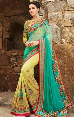Picture of Tempting Lime Yellow and Sea Green Latest Indian Saree