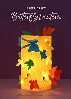Paper Craft – Make a Butterfly Lantern - Paper ideas Kids Lantern, Lantern Crafts, Light Crafts, Lantern Diy, Diy Butterfly Decorations, Diy Diwali Decorations, Diwali Craft, Diwali Diy, Handmade Lanterns