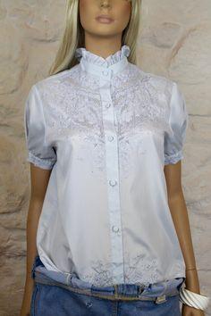 Camisa vintage cuello volante romántico y por Torreillinoise