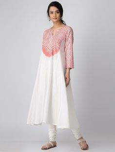 Peach Bandhani Cotton Kurta-Churidar-Dupatta with Badla Work (Set of Simple Kurti Designs, Kurti Neck Designs, Kurta Designs Women, Kurti Designs Party Wear, Blouse Designs, Pakistani Dresses, Indian Dresses, Indian Outfits, Punjabi Dress
