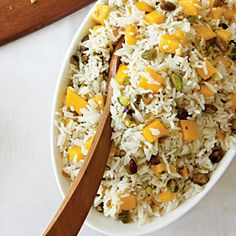 Coconut Rice with Mangoes and Pistachios | MyRecipes.com