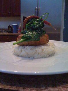 Sautéed Spinach atop Tuna, atop Risotto