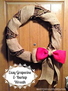 Love the rustic Christmas look? Make this easy DIY Grapevine and Burlap Wreath! #CDNHandmadeHoliday