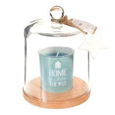 Bougie sous cloche en verre bleue H 15 cm ÉTOILE POLAIRE