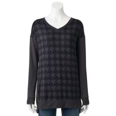 Women's French Laundry Houndstooth High-Low Hem Tunic, Size: Medium, Dark Grey