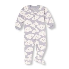 Baby Girls Unisex Baby And Toddler Long Sleeve Cloud Print Blanket Sleeper - Gray - The Children's Place