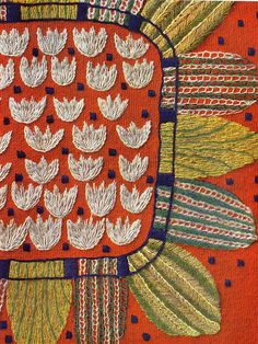 Swedish embroidery colour - Charles and Ray studied traditional textiles and felt all designers could learn lessons from them. Here, a Swedish embroidery colour Swedish Embroidery, Vintage Embroidery, Embroidery Applique, Embroidery Stitches, Embroidery Patterns, Floral Embroidery, Indian Embroidery, Scandinavian Embroidery, Primitive Embroidery