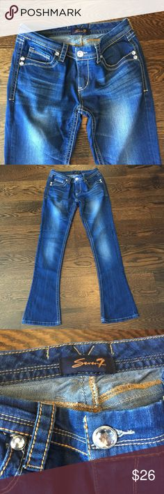 Seven Jeans Boot cut style. Crystal Button and crystals on pockets. Very soft and stretchy. Wore once. Seven7 Jeans Boot Cut
