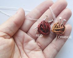 Knitting Needles and Yarn Necklace