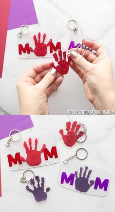 See how to make a Mother's Day Shrinky Dink keychain. Make a MOM keychain or a handprint shrinky dink keychain for Mother's Day! Easy Mother's Day Crafts, Mothers Day Crafts For Kids, Diy Crafts For Gifts, Fathers Day Crafts, Diy For Kids, Gifts For Kids, Daycare Crafts, Toddler Crafts, Preschool Crafts