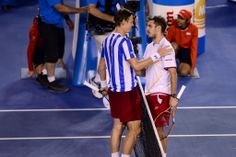 Tomas Berdych and Stanislas Wawrinka, SF, 23 January 2014. - Ben Solomon/Tennis Australia