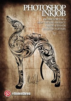 Photoshop Ink Job Step by step to his unique tattoo, designed by #linienthreu Presketch for a new tattoo project, made for a great fan of spanish #Galgo dog. The form uses classic #scrolls to make it look like an engraving work. #design #madeingermany #tattoo #inkjob #art #bodyart #dog #pet #galgo #spain #animal #scrollwork #engraving #flowers #floral #unique #madeingermany #magdeburg