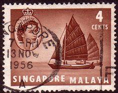 Singapore 1955 Queen Elizabeth SG 40 Boat Fine Used  SG 40 Scott 30