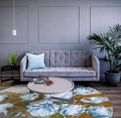 Temperature Design BARNEY SOFA, DISC SIDE & COFFEE TABLES, Terence Woodgate SOLID PENDANT. Pictured with @pentrinaturnerdesign MAVIS Rug. Image by @thestudiomelbourne.
