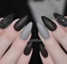 Black and gray stiletto nails