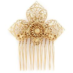 Miriam Haskell Filigree flower hair comb ($150) ❤ liked on Polyvore featuring accessories, hair accessories, metallic, flower hair accessories, vintage hair combs, vintage comb, hair comb accessories and miriam haskell