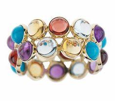 Multi-Gemstone Cabochon Band Ring 14K Gold