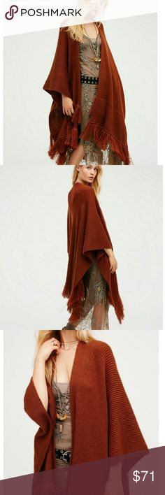 Free People Solstice Fringe Kimono Copper 1Sz NWT Free People Stunning Heavyweight Ribbed Knit Fringe Warm Copper Kimono 1Size NWT, Effortless Chic, 100% Acrylic, Machine Washable Cold Water, Super Cozy Soft & Pretty, Dense Multi Row Fringe, This Popular Color Will Go With Virtually Everything Free People Accessories Scarves & Wraps