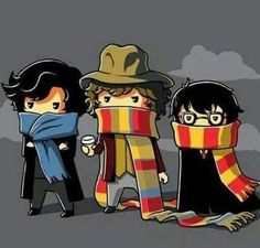 Sherlock, Doctor Who, and Harry Potter scarf tee Harry Potter Scarf, Cute Harry Potter, Detective, Fandom Crossover, Sherlock Holmes, Sherlock Doctor Who, Sherlock Cumberbatch, Sherlock Fandom, Superwholock