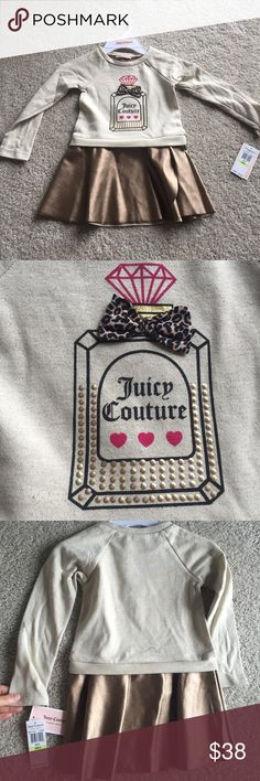 Juicy couture 4T girl tunic/dress Nwt. In perfect new condition. Authentic juicy couture. Faux leather skirt part. Perfume detail in the front. No trade Juicy Couture Dresses Casual