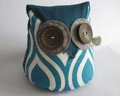 IHeartStitchingSA on Etsy Owl doorstop White Leaf, Blue And White, Owl Doorstop, Geometric Owl, Fox Pattern, Door Stopper, Owl Patterns, Cute Designs, Etsy Seller