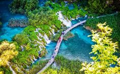 Pathway over Plitvice lakes from above. 10 Amazing things to see in Krka National Park Croatia. Have you heard about Krka National Park? You can even swim there! Best things to do in Croatia Dubrovnik, Croatia Itinerary, Croatia Travel, Cool Places To Visit, Places To Travel, Europa Tour, Plitvice Lakes National Park, Seen, Parc National