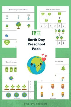 Best Toys 4 Toddlers - Free Earth Day printable pack for preschool and kindergarten Free Preschool, Preschool Science, Preschool Lessons, Kindergarten Worksheets, Preschool Crafts, Preschool Kindergarten, Preschool Ideas, Earth Day Worksheets, Earth Day Activities