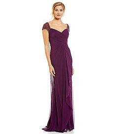 MGNY Madeline Gardner New York Beaded Ruched Cap Sleeve Gown #Dillards - Aubergine $439