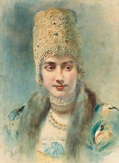 Русский художник Lev Samoilovich Bakst (1866-1924), акварель