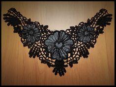 Faux col à coudre en dentelle fleurs noires brodées - customisation - couture - tricot - embellissement - costume vénitien - fourniture mercerie.