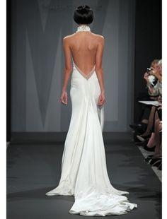 Back Mark Zunino Sheath Wedding Dress With High Neck Neckline And No Waist Princess