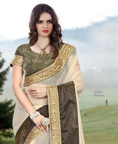 Cream With Green Lycra Indian Saree