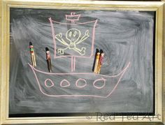 Pirate doll activity...Look at our colourful Pirate Clothes Pins and see all our chalkboard story play!