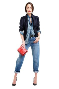 """Sponsored: Not too stuffy, not too casual. Can't go wrong with Denim. I would so wear this. All """"80s looking."""
